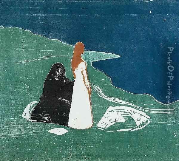 Two Women at the Beach Oil Painting - Edvard Munch