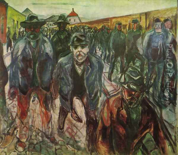Workers returning at home 1915 Oil Painting - Edvard Munch