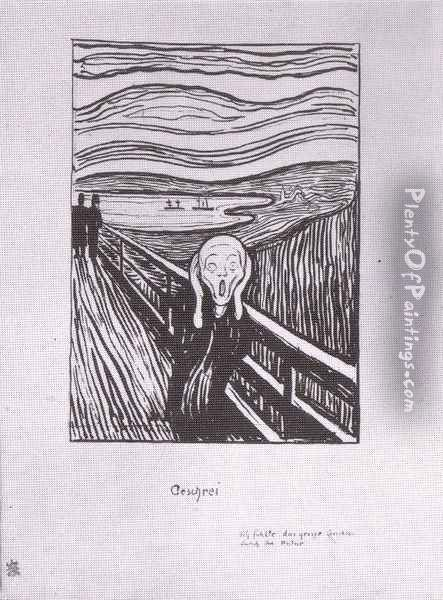 le cri lithographie 1895 Oil Painting - Edvard Munch
