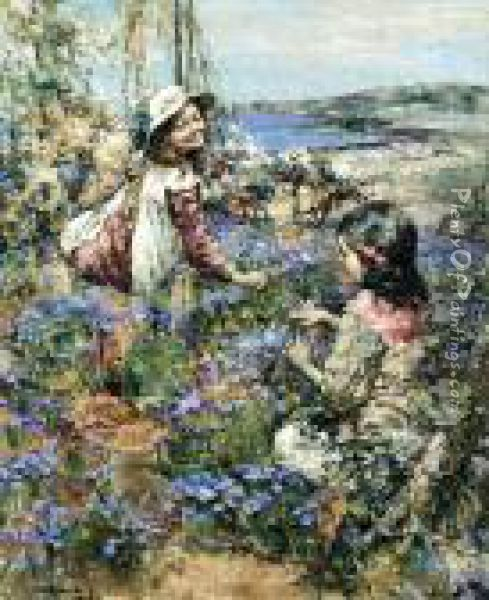 Girls Among The Violets Oil Painting - Edward Atkinson Hornel