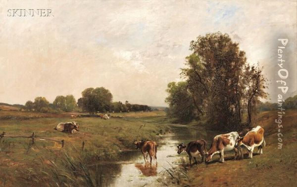 Cows By A Stream Oil Painting - Edward B. Gay