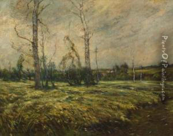 Early Winter Landscape Oil Painting - Edward B. Gay