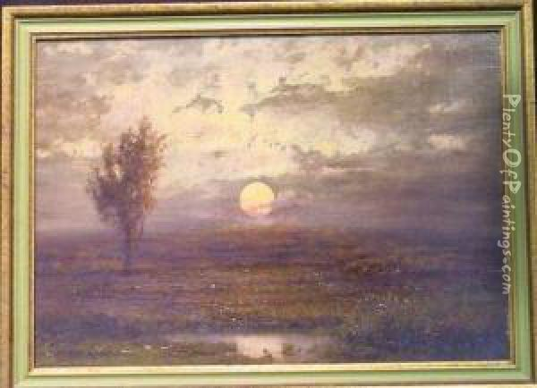 Marsh At Sunset Oil Painting - Edward B. Gay