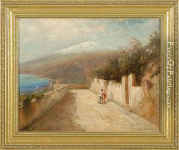 Walking Home, Depicting A Man  And A Donkey Walking Uphill With Distant Mountain And Ocean Oil Painting - Edward B. Gay