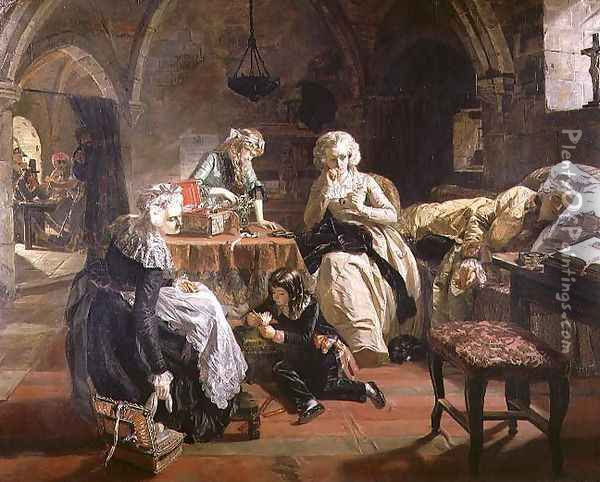 The Royal Family of France in the Prison of the Temple in 1792, 1851 Oil Painting - Edward Matthew Ward