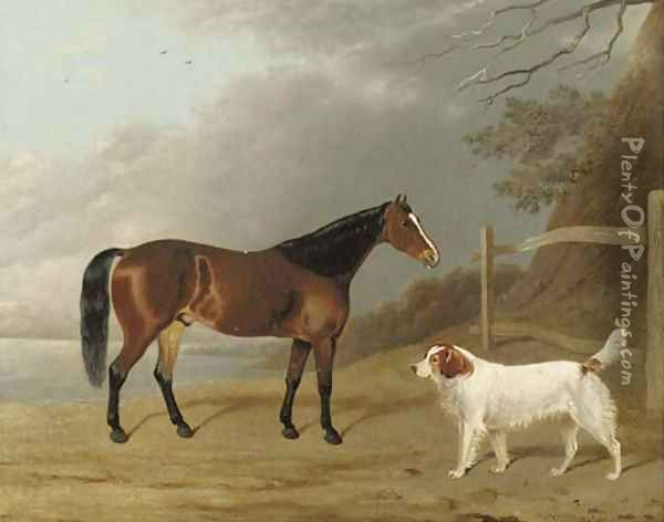 A Bay hunter with a dog by a fence Oil Painting - Edwin Cooper