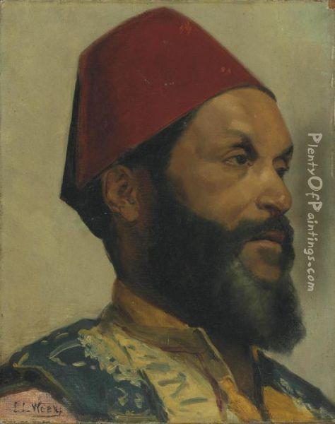 Portrait Of A Turkish Man Oil Painting - Edwin Lord Weeks