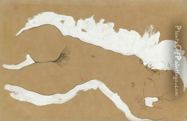 Female Nude With White Border Oil Painting - Egon Schiele