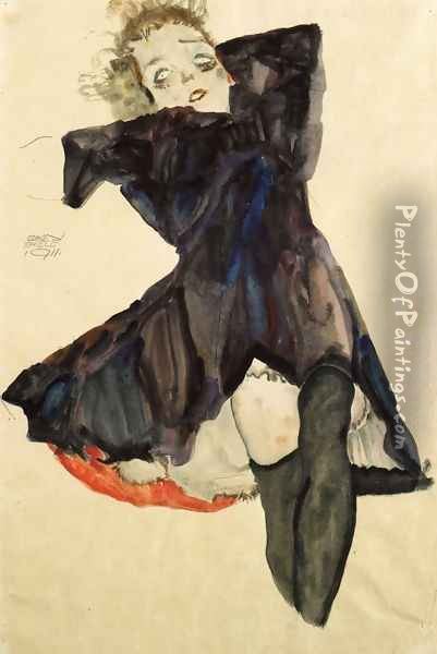 Girl In Blue Dress Oil Painting - Egon Schiele