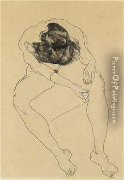 Seated Female Nude Seen From Above Oil Painting - Egon Schiele