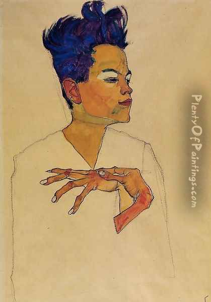 Self Portrait With Hands On Chest Oil Painting - Egon Schiele