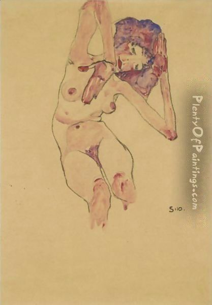 Sitzender Frauenakt Mit Geneigtem Kopf Und Erhobenen Armen (Seated Female Nude With Tilted Head And Raised Arms) 2 Oil Painting - Egon Schiele