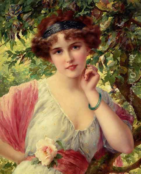 A Summer Rose Oil Painting - Emile Vernon