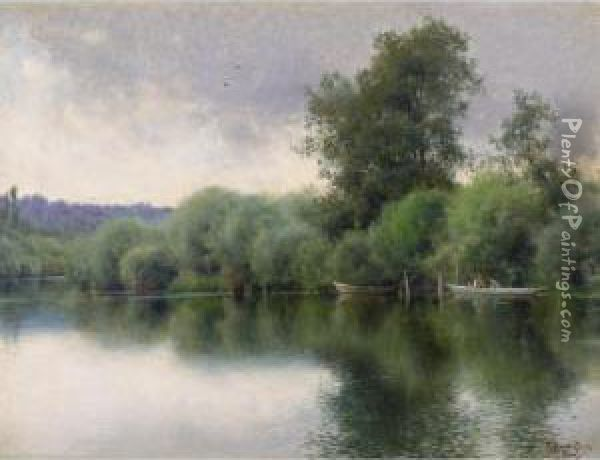El Sena En Poissy (the Seine At Poissy) Oil Painting - Emilio Sanchez-Perrier