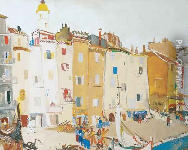 Italian Town at the Seashore Oil Painting - Endre Vadasz