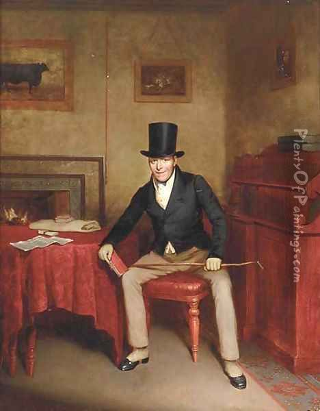 A Sportsman seated in an interior holding a record of hounds Oil Painting - English School