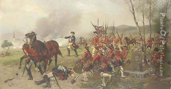 George II at the Battle of Dettingen 'George dismounted, drew his sword and put himself at the head of the troops exclaiming Oil Painting - Ernest Crofts