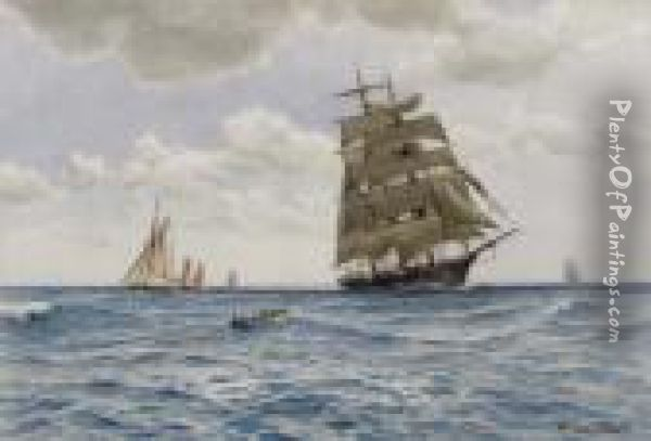 A Clipper And Other Sailing Vessels Oil Painting - Ernest Stuart