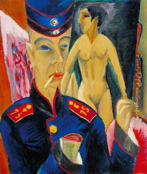 Self Portrait of a Soldier Oil Painting - Ernst Ludwig Kirchner