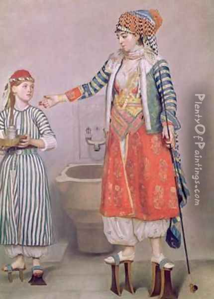 Turkish Woman with her Servant Oil Painting - Etienne Liotard