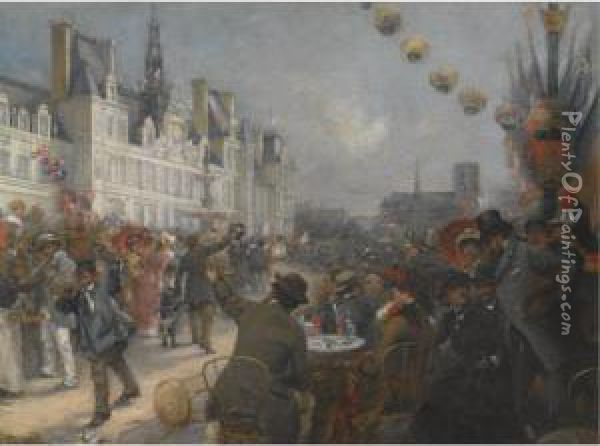 Hundredth Anniversary Of July 14th, Bastille Day Oil Painting - Etienne Tournes