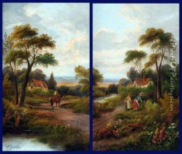 Rural Landscapes With Figures And Cottage Oil Painting - Etty Horton