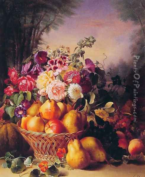 Still Life of Flowers and Fruits Oil Painting - Eugene-Adolphe Chevalier