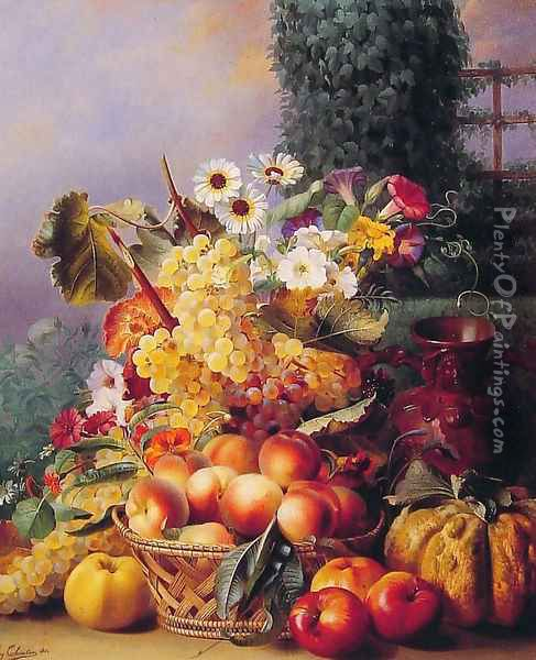 Still Life of Flowers and Fruits I Oil Painting - Eugene-Adolphe Chevalier