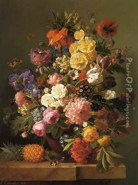 Still Life with Flowers and a Pineapple Oil Painting - Eugene-Adolphe Chevalier