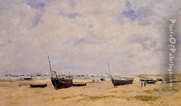 Berck, the Beach at Low Tide Oil Painting - Eugene Boudin