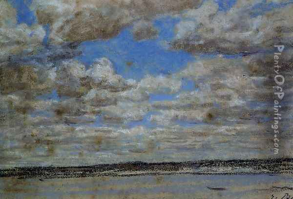 Fine Weather, White Clouds Oil Painting - Eugene Boudin
