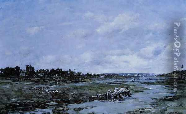 Le Faou: Laundresses on the Banks of the River Oil Painting - Eugene Boudin