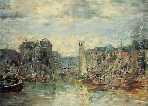 Rotterdam, the Commodities Exchange Port Oil Painting - Eugene Boudin