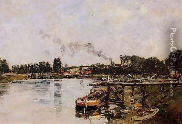 Saint Valery sur Somme, the Abbeville Canal Oil Painting - Eugene Boudin