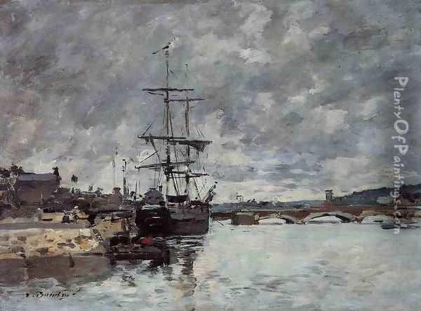 The Bridge over the Toques at Trouville Oil Painting - Eugene Boudin