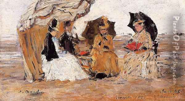 Trouville, under a Tent Oil Painting - Eugene Boudin