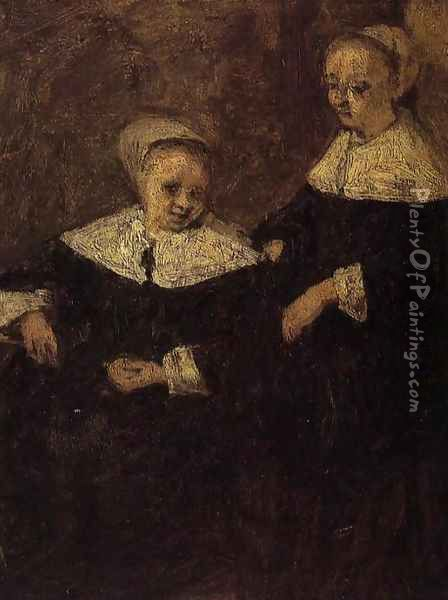 Two Woman (after Adriaen van Ostade) Oil Painting - Eugene Boudin