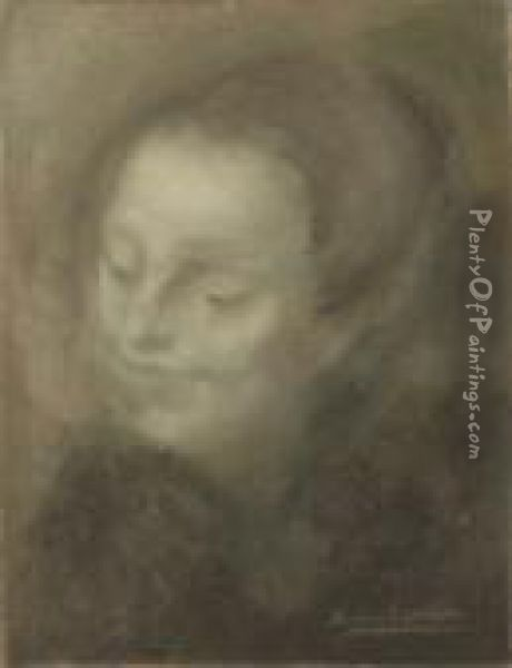 Head Of A Woman Oil Painting - Eugene Carriere