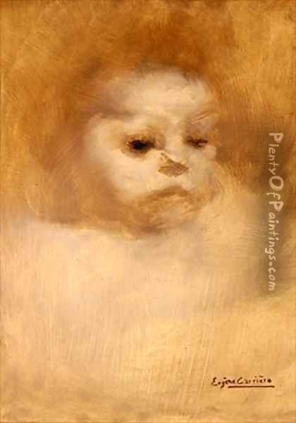 Head of a Child Study for La Grande Soeur Oil Painting - Eugene Carriere