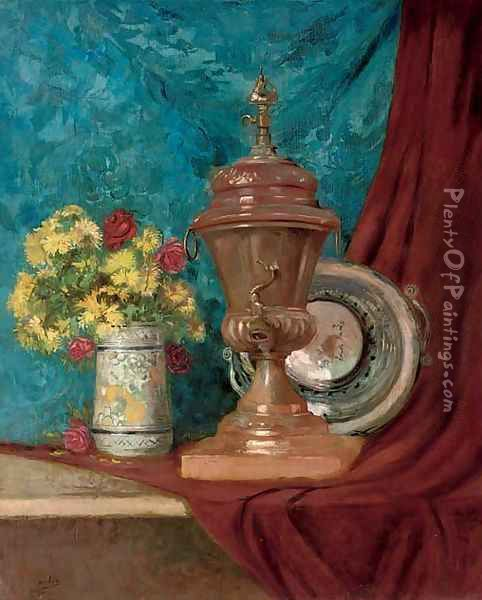 A vase of chrysanthemums and roses alongside an urn and a bowl, on a draped table Oil Painting - Eugene Henri Cauchois