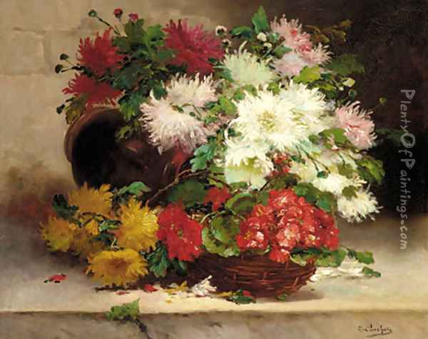 Chrysanthemums and Geraniums in a basket on a ledge Oil Painting - Eugene Henri Cauchois