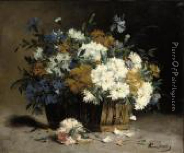 Cornflowers And Chrysanthemums In A Basket Oil Painting - Eugene Henri Cauchois