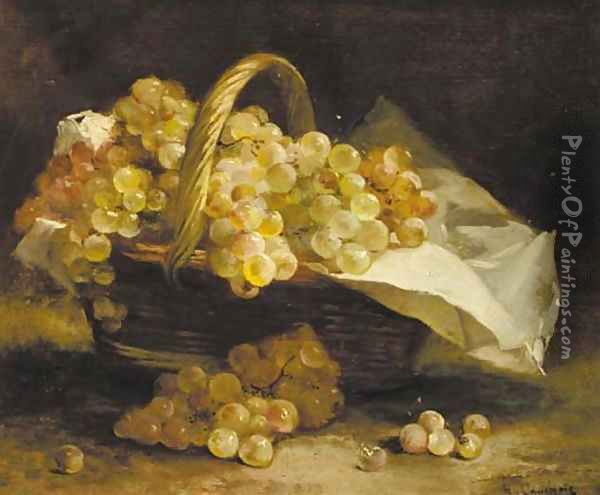 Grapes in a wicker basket Oil Painting - Eugene Henri Cauchois