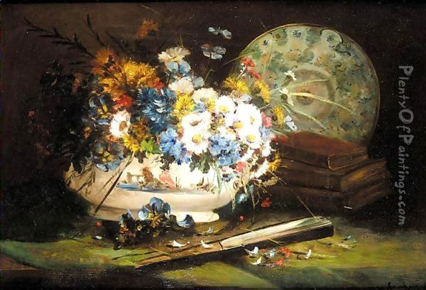 Still life of daisies and pansies in a vase Oil Painting - Eugene Henri Cauchois