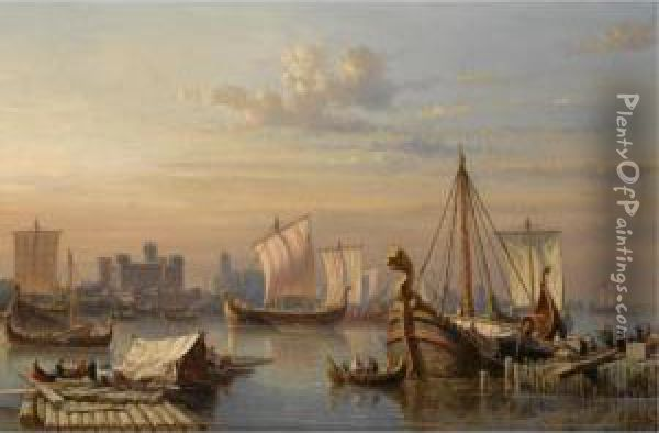 Viking Ships On The River Thames Oil Painting - Everhardus Koster