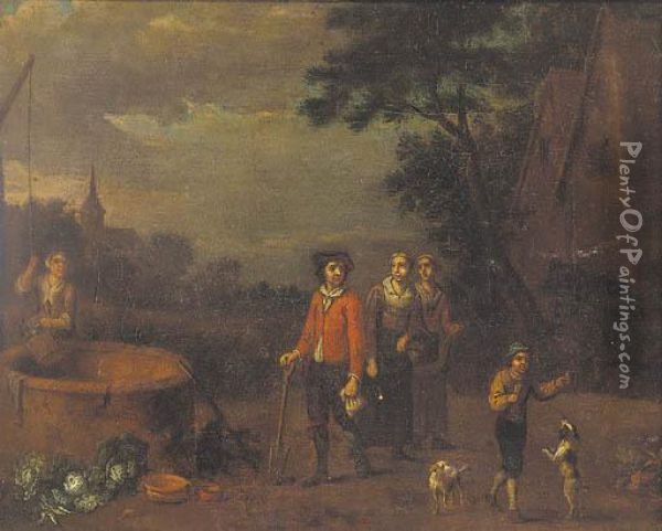 Figures By A Well Oil Painting - Evert Van Aelst