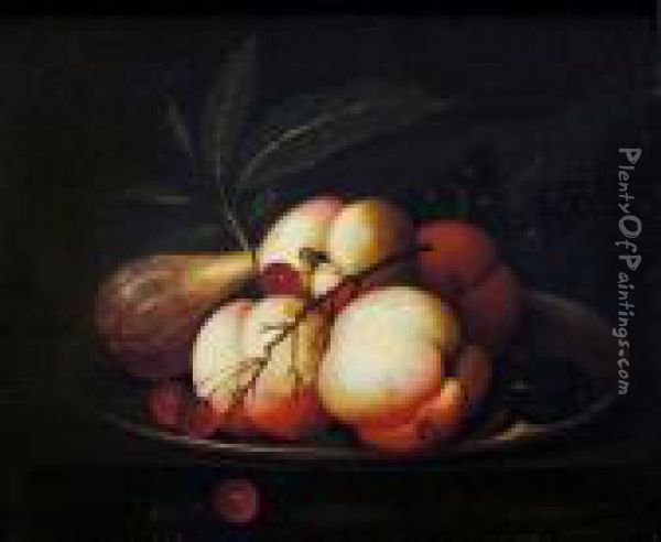 Piatto Con Pesche, Uva E Fichi Oil Painting - Evert Van Aelst