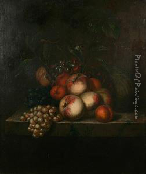 Still Life Of Apples, Oranges, Grapes And Melon On A Ledge Oil Painting - Evert Van Aelst