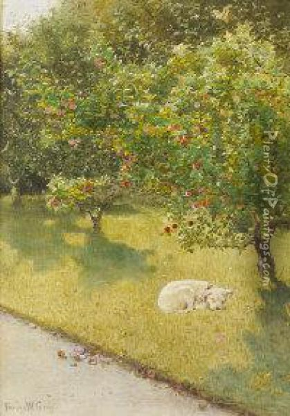 A Sunny Day In The Orchard, Lismore Oil Painting - Fanny W. Currey