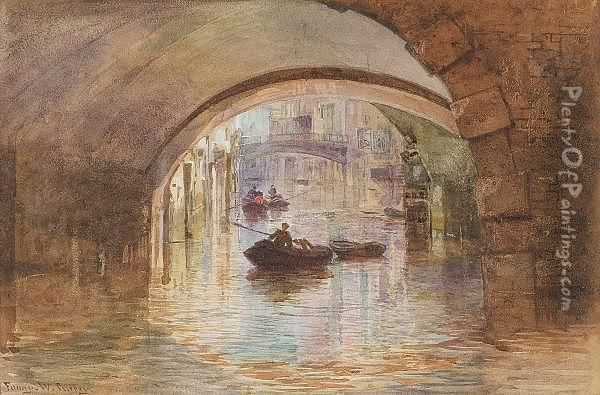 Venice Scene With Boatmen Under Arches Oil Painting - Fanny W. Currey